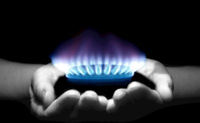 Gas flame in hands